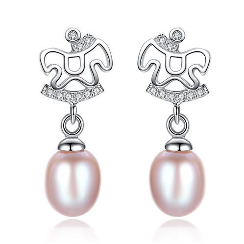 Sterling Pony Color Pearl Earrings white gold plated sterling silver