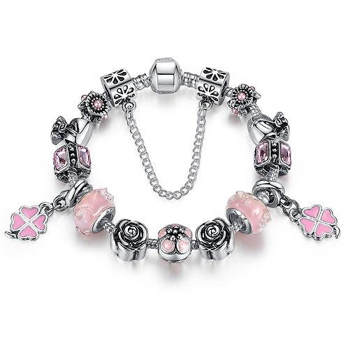 Double Pink Clover Charm Bracelet