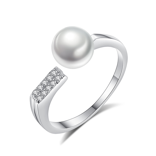 7mm Pearl 10 Diamonds Sterling Silver Ring
