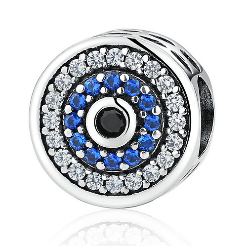 Round Evil Eye, Pave Silver Charm