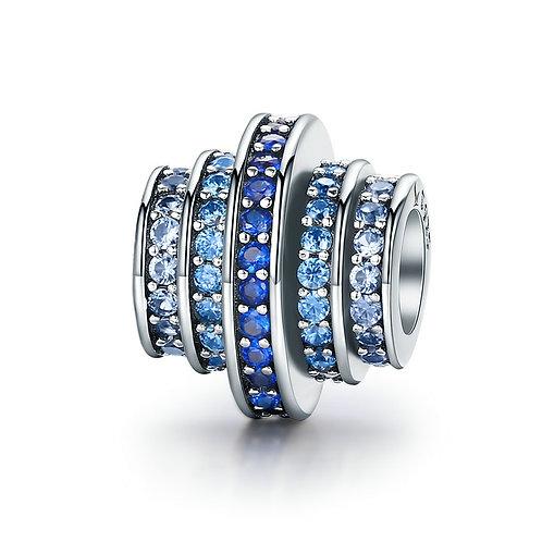 Layered Wheels Charm, Aqua Blue