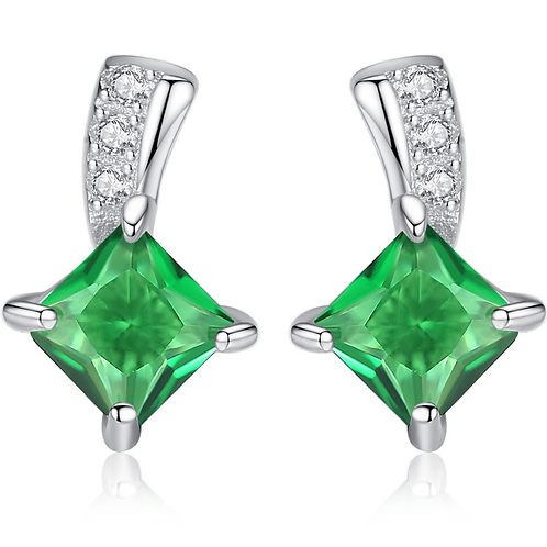 Emerald Sterling Silver Earrings