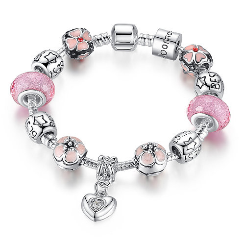 Heart Dangle Charm with Pink Floral Charms Bracelet