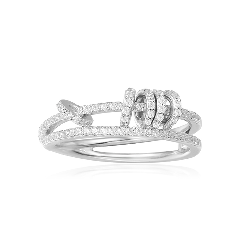 Two Layer Sliding Silver Ring