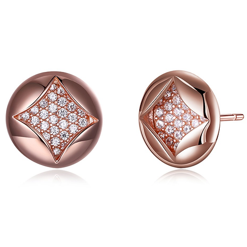 Rose Gold Sterling Fashion Round Stud Earrings II