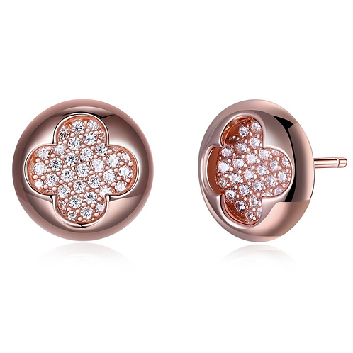 Rose Gold Sterling Fashion Round Stud Earrings III