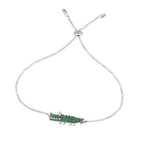 Silver Green Croco Bracelet