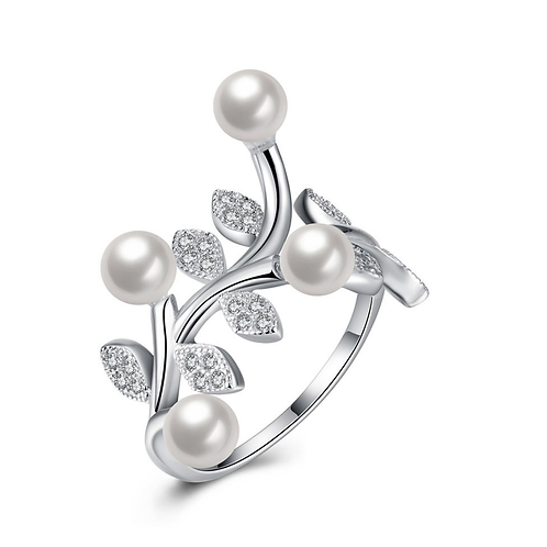 Dazzling Olive Breach 4 Pearl Platinum Plated Sterling Silver Ring