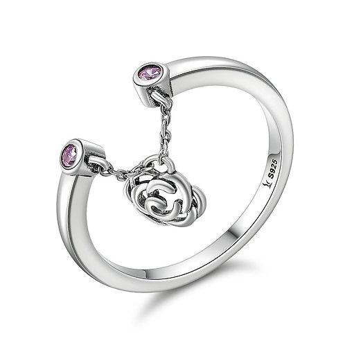 Filigree Rose Pendant, Sterling Silver Ring Stackable