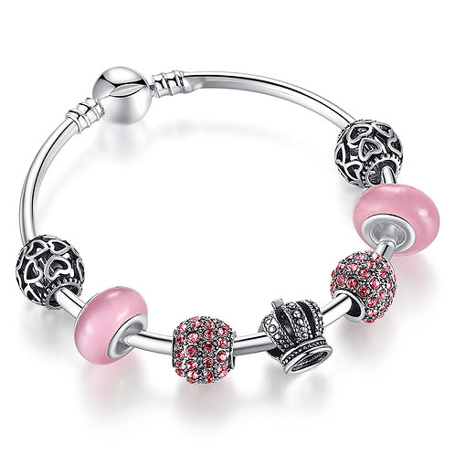 Victorian Style Crown Charm, Pink Pave Charm Bracelet