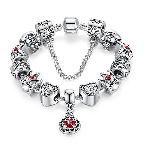 King's Crown Royal Heart Silver Bracelet