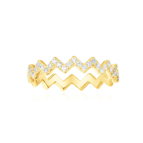 Yellow Silver Up And Down Ring