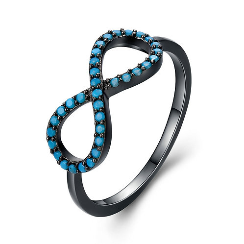 Black and Blue Infinity Ring