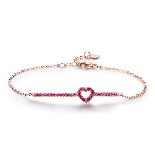 Rose Gold Forever Heart, Silver Bracelet