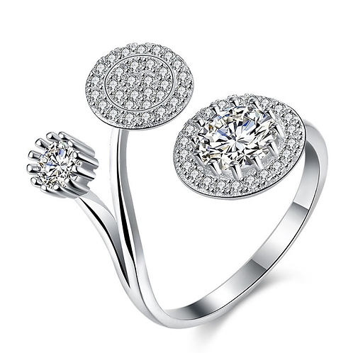 Dazzling Disc Sterling Silver Ring