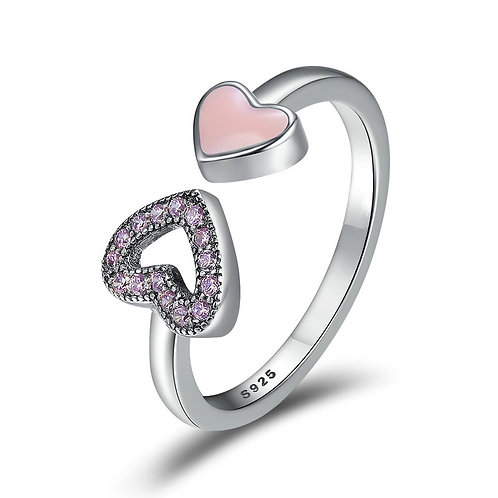 Heart To Heart, Pink Stone and Enamel Open Ring