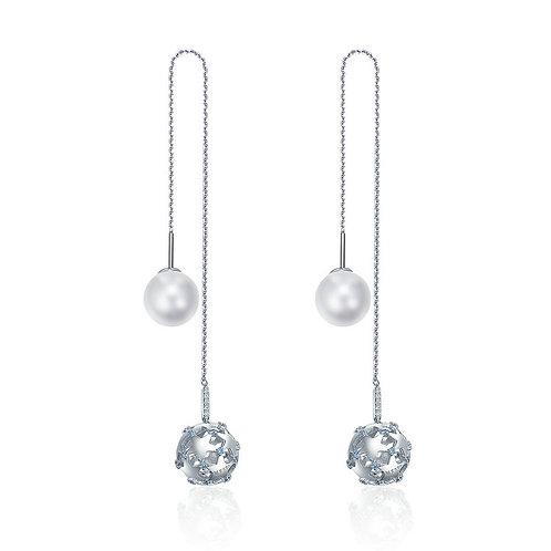 Pave Long Chain Filigree Silver Ball, Dangle Earrings