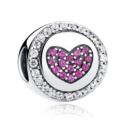 Pink Heart, Silver Charm