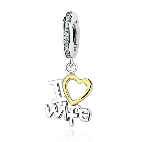 """I love my wife"" , Silver Pendant"
