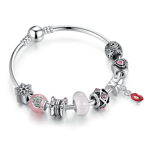 Hot Red Lip Charm Bracelet