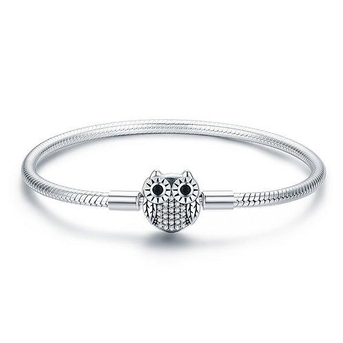 Pavé Owl, Silver Bracelet