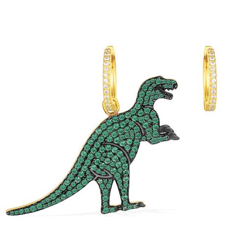 Green T-Rexy Asymmetric Yellow Silver Earring