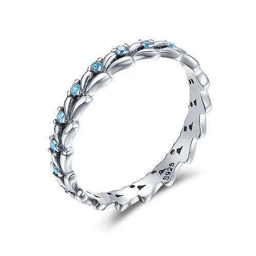 Silver Thorn Aqua Blue Ring