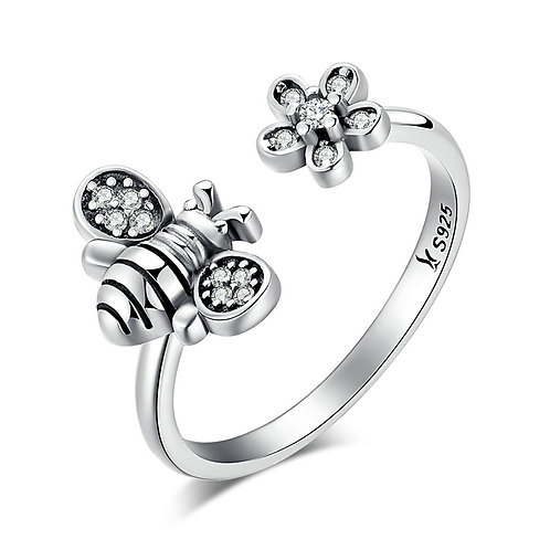 Honey Bee, Sterling Silver Open Ring