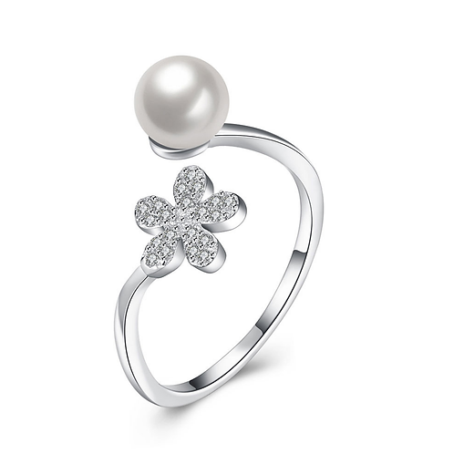 Dazzling Daisy Pearl Platinum Plated Sterling Silver Ring