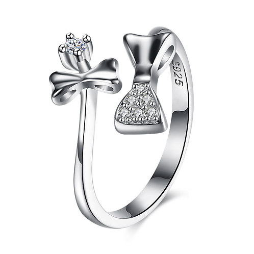 Dazzling Bow Tie Diamond Platinum Plated Sterling Silver Ring