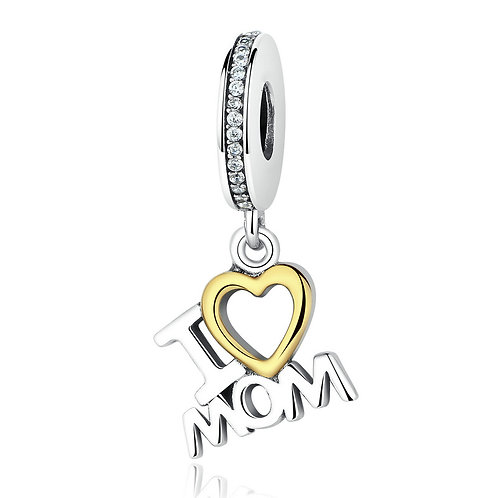 """I love my mom"" , Silver Pendant"