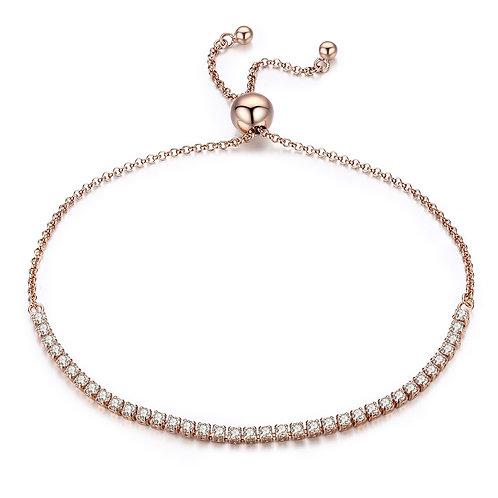 Rose Gold Sparkle Stones, Slider Silver Bracelet