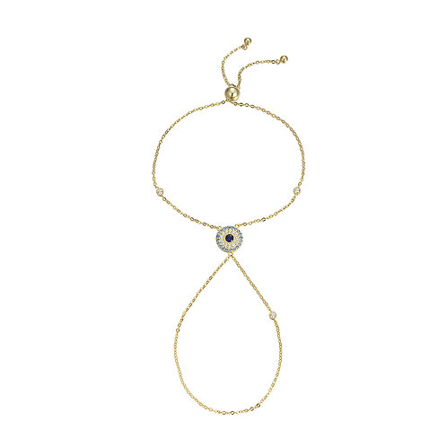 Golden Round Evil Eye Slave Bracelet