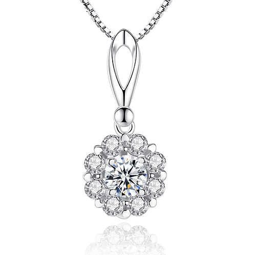 Classic is Classic, Halo floral sterling silver pendant necklace