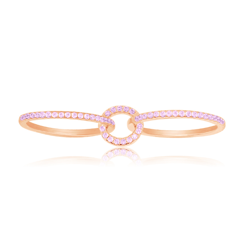 Linked Pink Silver Ring