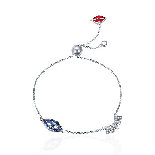 Lucky Eye and Sparkling Eyelash Slider Bracelet