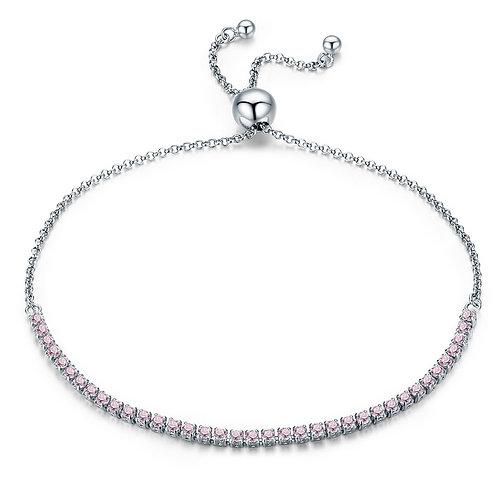 Pink Sparkle Stones, Slider Silver Bracelet