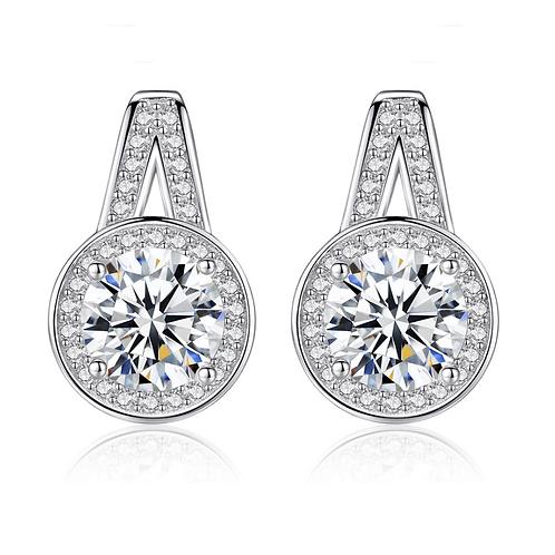 Hearts & Arrows Pave Set Halo Drop Earrings