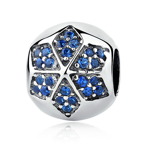 Six Pointed Snowflake, Pave Silver Charm