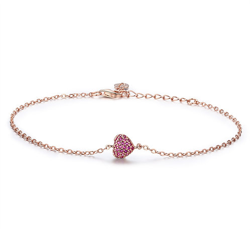 Pink Stone Pave Forever Heart, Silver Bracelet