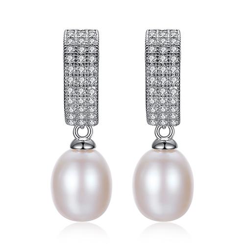 Elegance Dazzling Belt Pearl Drop Earrings
