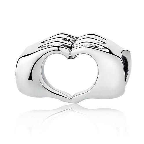 Hand Heart Silver Charm