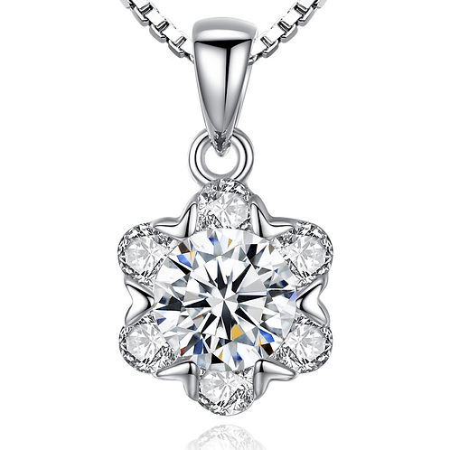 Dazzling Flower, 18k white gold Sterling Silver, Clear CZ