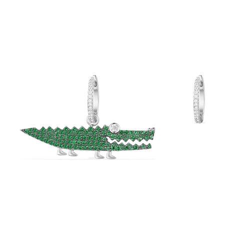 Silver Large Green Croco Asymmetric Earring