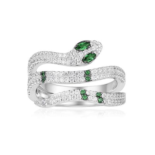 Silver Green Kaa Ring