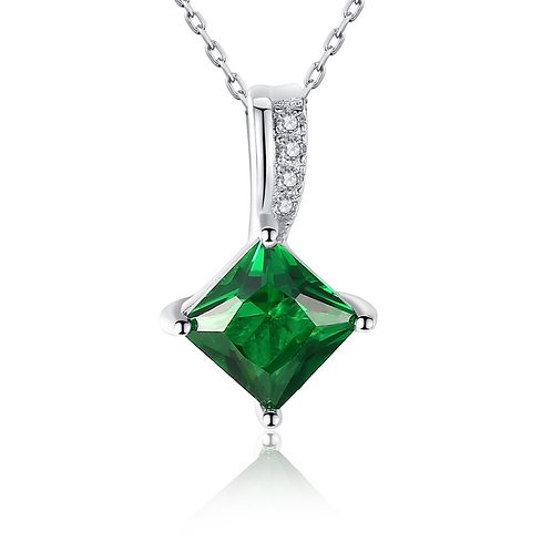 Square Emerald Pendant, Dazzling Neck, Platinum Plated, Clear CZ