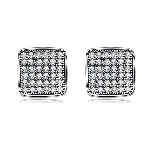 Halo Square Stud Earrings