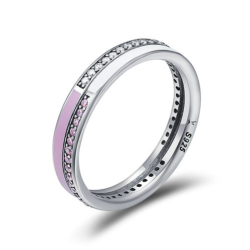 Light Pink and White Enamel, Twin Color CZ Band Ring