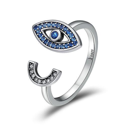 Blue Evil Eye, Open Ring