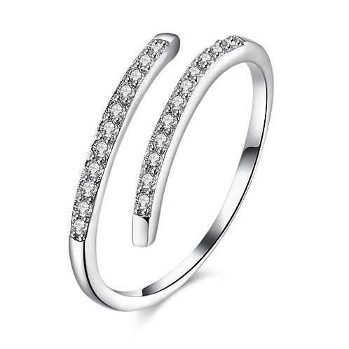 Twirling Love Diamond Sterling Silver Ring